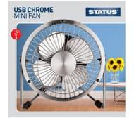 "STATUS USB 4"" Portable Fan - Chrome"