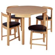 Solid Wood Dining Table & 4 Oak Chairs