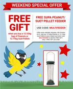 Free Feeder When You Buy 12.55kg Peanuts or 12.75kg Suet Pellets