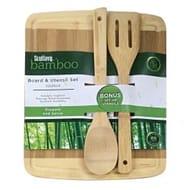 Scullery Bamboo Board & Utensil Set 32 X 26cm
