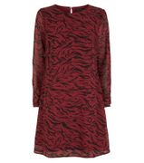 Red Chiffon Tiger Print Tunic Dress
