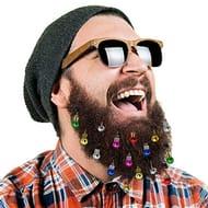 16pcs Beard Ornaments Hit of Christmas Beard Jingle Bells Santa Claus Beard