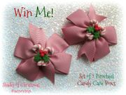 Win a Set of 2 Pinwheel Bow Clips with Clay Candy Cane Embellishments!