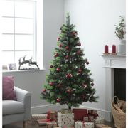 Argos Home 6ft Berry and Cone Christmas Tree - Green