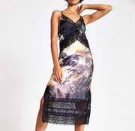 Black Print Lace Midi Slip Dress