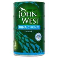 2 Packs of 4 John West Tuna Chunks in Brine 4 X 145g (8)