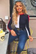 Navy & White Contrast Long Sleeved Bodysuit, Only £13.99!