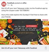 £5 off £10 Takeaway with Code at Foodhub App
