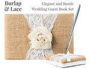 Rustic Wedding Guest Book Made of Burlap and Lace, Pen Holder and Silver Pen