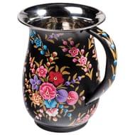 Black Floral Hand Painted Enamelware Jug