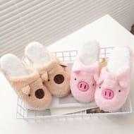 New Lovely Women Flip Flop Cute Pig Shape Home Floor Soft Stripe Slippers