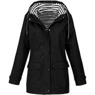Women Solid Rain Jacket Outdoor plus Waterproof Hooded Raincoat Windproof Black