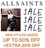 AllSaints SALE 50% off + EXTRA 20% off SALE