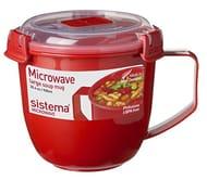 Sistema Microwave Soup Mug, Plastic, 900 Ml - Red/Clear