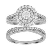 Diamond and White Gold Engagement and Wedding Ring Set