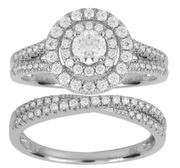 Cheap Diamond and White Gold Engagement and Wedding Ring Set, Only £2000