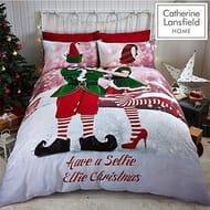 Catherine Lansfield Selfie Elfie Easy Care Double Duvet Set Multi