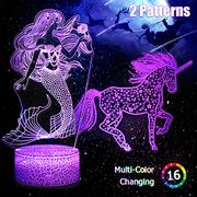 50% Unicorn and Mermaid 3D Night Light, Gifts for Women and Girls Only £9.99