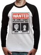 Cheap RICK and MORTY - Wanted Poster Raglan Baseball Shirt - Save £7.99!
