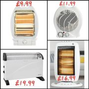 4 Types of Electric HEATERS £9.99 - £19.99 (1 with Fan)