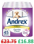 45 Andrex Gentle Clean Toilet Rolls (38p a Roll!)