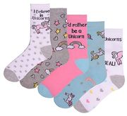 Unicorn Cotton Rich Socks - Size 4-7 (5 Pairs) Free Delivery