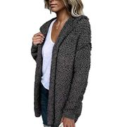 SummerRio Women Casual Loose Solid Cardigan Long Sleeve Open Front Knitted