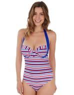 Sailor Halter Balconette Swimsuit Blue/Red/White