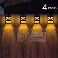 Solar Powered Garden Light Fence Lights Decorative 4 Pack