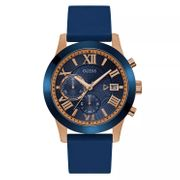 *SAVE £84* Guess Men's Blue Dial and Strap Rose Gold Watch