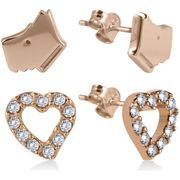 Radley Rose Gold Plated Silver Dog and Heart Earrings