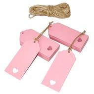 Add on Item Pink Craft Tags, Wedding, Christmas, Christening Etc 100 & Jute Cord