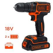 Black + Decker Cordless Drill, 18V, with 2 Batteries