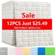 12pcs 70x77 Cm 3D Brick Foam Wallpaper - 20% Off!