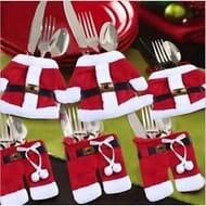 6pcs Santa Suit Christmas Cutlery Holders