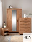 Cuba 4 Piece - 3 Door Mirrored Wardrobe, 5 Drawer Chest and 2 Bedside Chests
