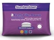 SLUMBERDOWN FEELS like down PILLOW - 2 PACK Only £14.99