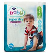 Boots Baby Super Dry with Active Stretch Size 6, 23 Nappies, 16kg+