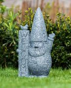 Stone Effect Garden Gnome with Welcome Sign