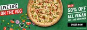 Half Price on All Papa Johns Vegan Pizzas, Sides Etc 1st - 3rd November