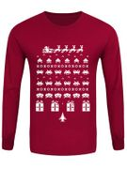 Gamers Men's Red Long Sleeved Christmas T-Shirt