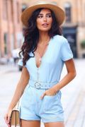 Blue Utility Pocket Zip Playsuit, Only £13.49!