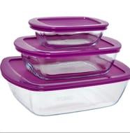 PYREX Three Piece Purple Glass Tupperware
