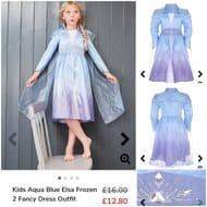 Kids Aqua Blue Elsa Frozen 2 Fancy Dress Outfit