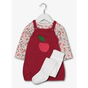 Pink Knitted Apple Pinafore, Bodysuit & Tights Set up to 1 Month Only
