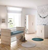 Little Acorns Oxford Cot Bed Nursery Room Set with Deluxe 4inch Foam Mattress