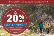 20 % off Waterproof Trousers and Jackets at ROHAN