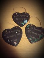 "In Memory 6"" Personalised Slate Hearts"