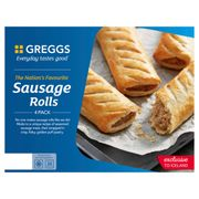 GREGGS SAUSAGE ROLLS 4pk Buy 2 for £2.00