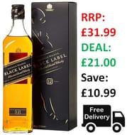 Johnnie Walker Black Label - Blended Scotch Whisky 70cl - 34% Off!